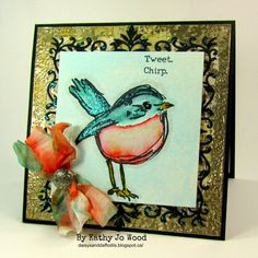 tim holtz, ranger, dina wakley, watercolor, scribbly birds, stickles, spellbinders, floral assortment, bird, card
