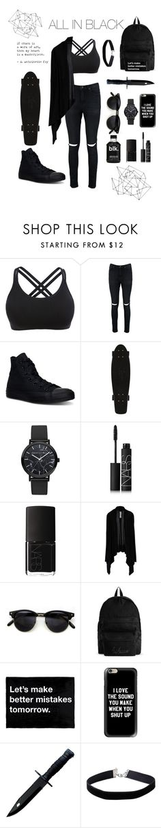 """""""ALL IN BLACK"""" by dark-mark ❤ liked on Polyvore featuring Boohoo, Converse, NARS Cosmetics, Rick Owens, YOHJI YAMAMOTO POUR HOMME, Casetify and Miss Selfridge"""