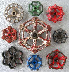 Search Results › MakeitMetal › VINTAGE Vintage Cast Iron Valve Handles, Steampunk, Assemblage, Garden decor, Collection of 9