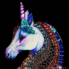 The colors in this mixed media mosaic unicorn are beautiful. Great tutorial that shows how to do something similar with lots of tips and tricks. Unicorn Glass, Unicorn Art, Mixed Media Tutorials, Art Tutorials, Mosaic Art, Mosaic Glass, Stained Glass, Unicorn Tapestries, Little Miss Perfect