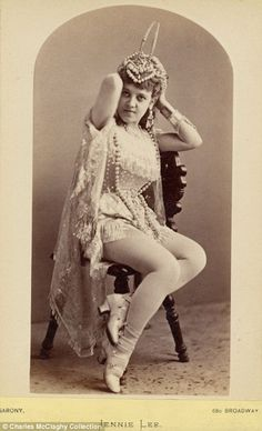 Burlesque beauties of the 1890's. Perfectly harmless by modern standards, but utterly scandalous by the standards of the day. These might make good starting points for a steampunk costume.