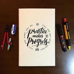 Note to self. 打ち合わせとラフスケッチ用のノートを新調したので、いつも自分を鼓舞してくれる言葉を表紙に書きました。 Practice makes progress. 練習が発展を生む。/ You are not what you say. You are what you do. あなたの話すことはあなたじゃない。行動があなただ。 #sisterchalkboy #handwritten #graphic #whatahandwrittenworld #handwrittenpeople #notebook #quotes