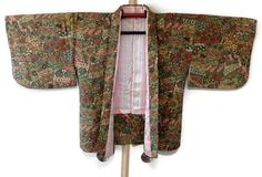 Bohemian Green Floral Japanese Kimono Jacket Vintage Haori
