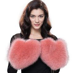 URSFUR Women's Winter Genuine Fox Fur Mittens Lady's Warm Golves Rose Red -- Awesome products selected by Anna Churchill