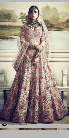 Anushka Sharma's Dreamy Sabyasachi Lehenga Can Now Be Yours Indian Bridal Outfits, Indian Bridal Wear, Indian Dresses, Indian Wedding Dresses, Royal Indian Wedding, Eid Dresses, Indian Lehenga, Silk Lehenga, Sabyasachi Lehenga Bridal