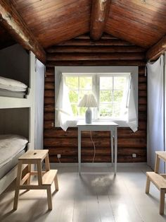 Could This Hygge Danish Log Cabin Be Your Holiday Home? - my scandinavian home: Could This Hygge Danish Log Cabin Be Your Holiday Home? Hygge, Scandinavian Cabin, Rustic Stools, Rustic Wood, Log Cabin Homes, Log Cabins, River Cabins, Rustic Cabins, How To Build A Log Cabin