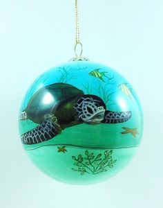 Sea Turtle hand painted glass Ornament in box