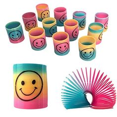 12 Mini Rainbow Smiley Face Springs Slinky Pinata Party Loot Bag Fillers Toy: Amazon.co.uk: Toys & Games