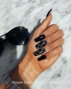 Acrylic nail designs, nail art designs, marble nail designs, black marble n Marble Acrylic Nails, Acrylic Nails Coffin Short, Fall Acrylic Nails, Acrylic Nail Designs, Black Marble Nails, Black Chrome Nails, Cute Black Nails, Long Black Nails, Gorgeous Nails