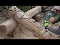 tiki head carving - YouTube Totem Pole Art, Tiki Head, Wooden Walking Sticks, Backyard Patio, Garden Inspiration, Wood Carving, Wood Art, Projects To Try, Woodworking
