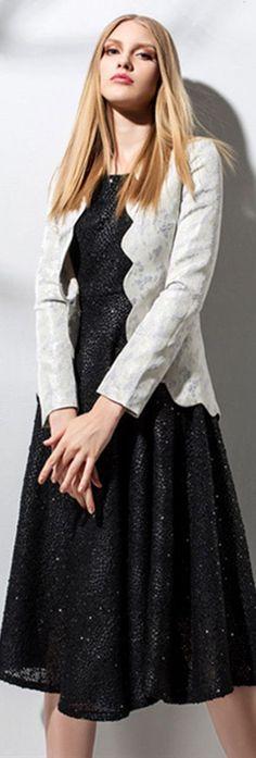 Black Sleeveless Dress with Blazer