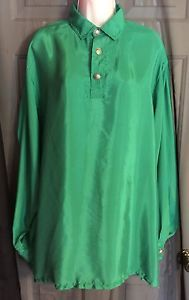 Vintage 90s Gianni Versace Green Couture 100 Silk Shirt Size 1x | eBay