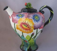 Blue Sky Clayworks Jeanette McCall Colorful Poppy Flower Tea Pot | eBay