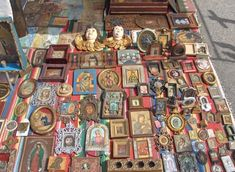 These Mexican and Central American 'santos' and religious icons were one of the most exciting items found at the market. Folk art at its most emotional, painted (and carved).