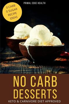Enjoy top rated no carb desserts for a keto and carnivore diet. All you need are a few simple ingredients. These are ultra-low-carb and zero carb options you can make today! Low Carb Sweets, Low Carb Desserts, Keto Dessert Easy, Dessert Recipes, Ketogenic Desserts, Ketogenic Diet, No Carb Recipes, Diet Recipes, Homemade Yogurt