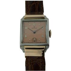 Vintage Rolex rare Art Deco dress style wrist watch, circa This Swiss rose gold and stainless steel wrist watch has 17 jewel movement with restored. Vintage Rolex, Vintage Watches, Rolex Watches, Watches For Men, Wrist Watches, Factory House, Stainless Steel Rolex, Buy Gold And Silver, Art Deco Dress