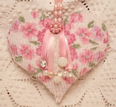 Pink Roses and Pearls Hanging Heart Lavender Sachet