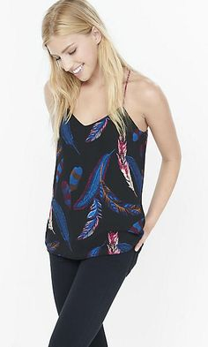 feather print/berry reversible barcelona cami
