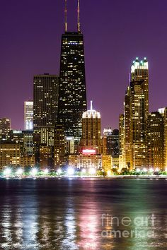 Night Skyline Of Chicago  by Paul Velgos