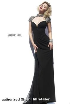 Sherri Hill - 32012 available at Miss Priss.  Black jersey, fitted dress with stunning rhinestone, crystal, beaded cap sleeves… gorgeous for prom, pageant, social occasion, and formal events