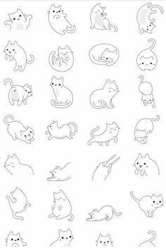 64 Trendy Drawing Animals Tips Character Design References Simple Cat Drawing, Cute Cat Drawing, Simple Cat Tattoo, Cute Animal Drawings, Drawing Art, Cat Tattoo Designs, Kawaii Cat, Easy Drawings, Doodle Art