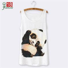 Sleeveless White Tank Top Women 2016 Casual Harajuku Panda 3D Animal Print Tank Tops Sexy Camisole for women Vest Female O-neck