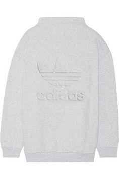 adidas Originals - Embossed Cotton-blend Fleece Sweatshirt - Light gray -