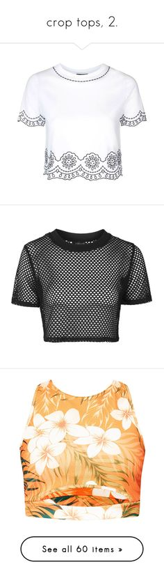 """crop tops, 2."" by originalimanim ❤ liked on Polyvore featuring tops, t-shirts, shirts, crop top, blusas, t shirt, short sleeve crew neck t shirt, embroidered t shirts, white crew neck t shirt and short sleeve shirts"