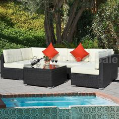 Outdoor Patio 7PC Furniture Sectional PE Wicker Rattan Sofa Set Deck Couch Black