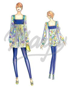 Marfy 3402 - Flared tunic with pintucks at empire-line, square neckline and sleeves slightly gathered at shoulders and cuffs. Can be made in chiffon, jersey or crêpede- chine.