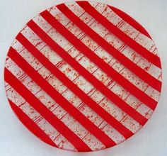 Bright Red Stripe Fused Glass by Sunflower Glassworks