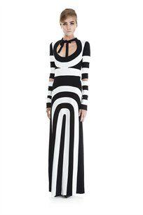 Pieced Longsleeve Dress with Cutout