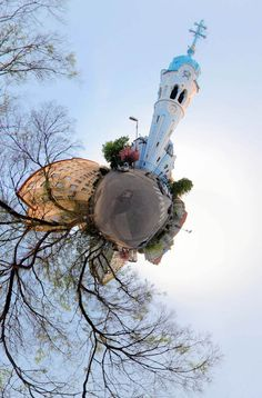 'Tiny Planet' Stereographic Panorama ~ Spherical Panorama Near The Blue Church in Bratislava by Peter Hudec