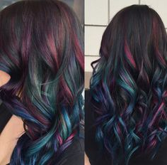 Oil slick hair. Coloring for people with dark hair. It is so pretty.