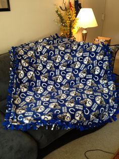 Indianapolis Colts Fleece Tie Blanket - NFL Football No Sew - Quilt for Anniversary, Birthday, Gift - Royal Blue / White Pattern. $54.00, via Etsy.