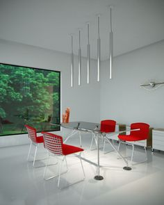 A shower of light A series of methacrylate and aluminium tubolar elements, hanging from the ceiling. A play of light and reflections characterize the environment by inventing new architectural sceneries. Lighting solutions for both residential use and what is public.