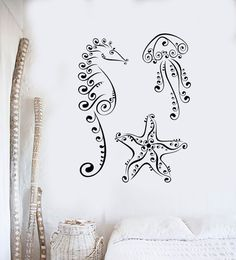 Wall Decal Jellyfish Seahorse Starfish Marine Animal Sea Vinyl Stickers Unique Gift from Saved to Things I want as gifts. Seahorse Tattoo, Jellyfish Tattoo, Starfish Tattoos, Seahorse Art, Seahorses, Vinyl Wall Decals, Wall Stickers, Beach Wall Decals, Henne Tattoo