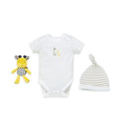 Bodysuit, Hat and Rattle Gift Set - Grey