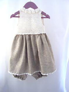 Organic linen Crochet Yoke Fabric Dress Sewing by TheBabemuse, $35.00