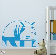 GEOMETRIC HIPPO  Wall Decals  Nursery interior by decalsmurals
