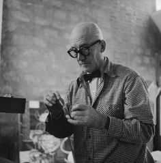 Le Corbusier in his Paris studio, 1954.
