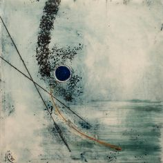 Blue Moon - Encaustic on Birch by Linda Virio