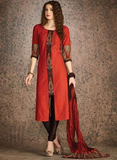 Rust Blended Cotton Churidar Suit - All About Churidar Designs, Kurti Neck Designs, Dress Neck Designs, Kurta Designs Women, Stylish Dress Designs, Kurti Designs Party Wear, Stylish Dresses, Blouse Designs, Kurta Patterns
