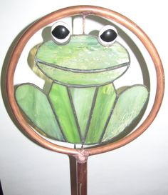 Stained Glass Copper Garden Stake  Frog by PowerGlassCreations