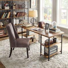 Industrial Desk Writing Table Rustic Reclaimed Wood Metal Home Office Furniture #Homelegance #RusticPrimitiveVintage