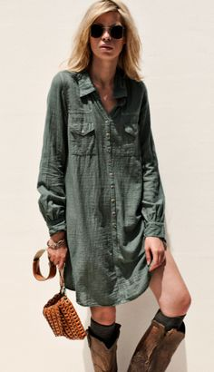 Shirt dress and boots.