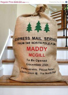 Christmas sack, santa bag, Santa Sack, burlap stocking bag with trees, Personalized