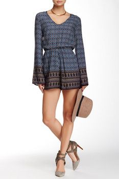 Cecico Border Print Long Sleeve Romper