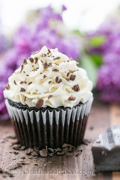 Dark Chocolate Cupcakes with White Chocolate Frosting