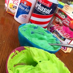Puffy paint!  I used equal parts glue and shaving cream and mixed in food coloring to desire